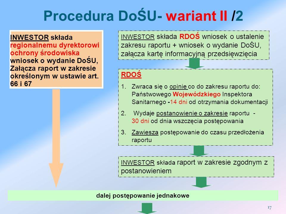 Procedura DoŚU- wariant II /2 dalej postępowanie jednakowe