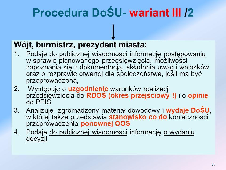 Procedura DoŚU- wariant III /2