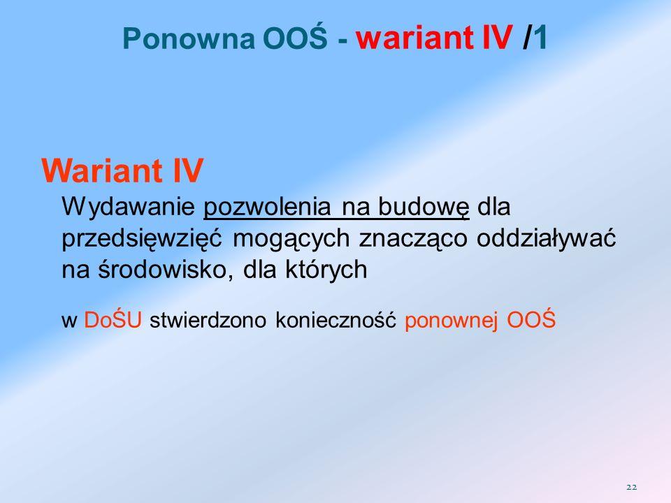Ponowna OOŚ - wariant IV /1
