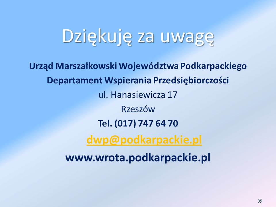 Dziękuję za uwagę www.wrota.podkarpackie.pl dwp@podkarpackie.pl