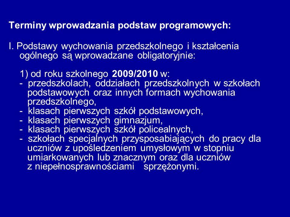 Terminy wprowadzania podstaw programowych:
