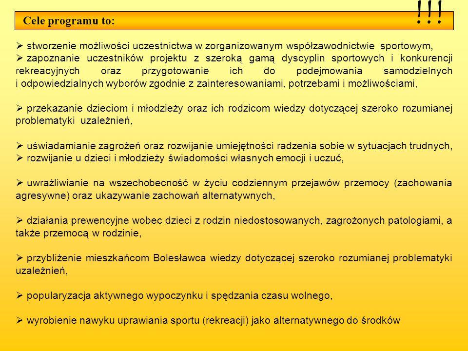 !!! Cele programu to: stworzenie możliwości uczestnictwa w zorganizowanym współzawodnictwie sportowym,