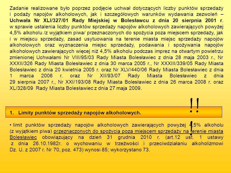 Zadanie realizowane było poprzez podjęcie uchwał dotyczących liczby punktów sprzedaży i podaży napojów alkoholowych, jak i szczegółowych warunków wydawania zezwoleń – Uchwała Nr XLI/327/01 Rady Miejskiej w Bolesławcu z dnia 20 sierpnia 2001 r. w sprawie ustalenia liczby punktów sprzedaży napojów alkoholowych zawierających powyżej 4,5% alkoholu /z wyjątkiem piwa/ przeznaczonych do spożycia poza miejscem sprzedaży, jak i w miejscu sprzedaży, zasad usytuowania na terenie miasta miejsc sprzedaży napojów alkoholowych oraz wyznaczenia miejsc sprzedaży, podawania i spożywania napojów alkoholowych zawierających więcej niż 4,5% alkoholu podczas imprez na otwartym powietrzu zmienionej Uchwałami Nr VIII/95/03 Rady Miasta Bolesławiec z dnia 28 maja 2003 r., Nr XXXII/326 Rady Miasta Bolesławiec z dnia 30 marca 2005 r., Nr XXXIII/339/05 Rady Miasta Bolesławiec z dnia 20 kwietnia 2005 r. oraz Nr XLV/440/06 Rady Miasta Bolesławiec z dnia 1 marca 2006 r. oraz Nr XII/93/07 Rady Miasta Bolesławiec z dnia 29 sierpnia 2007 r., Nr XXI/193/08 Rady Miasta Bolesławiec z dnia 26 marca 2008 r. oraz XL/328/09 Rady Miasta Bolesławiec z dnia 27 maja 2009.