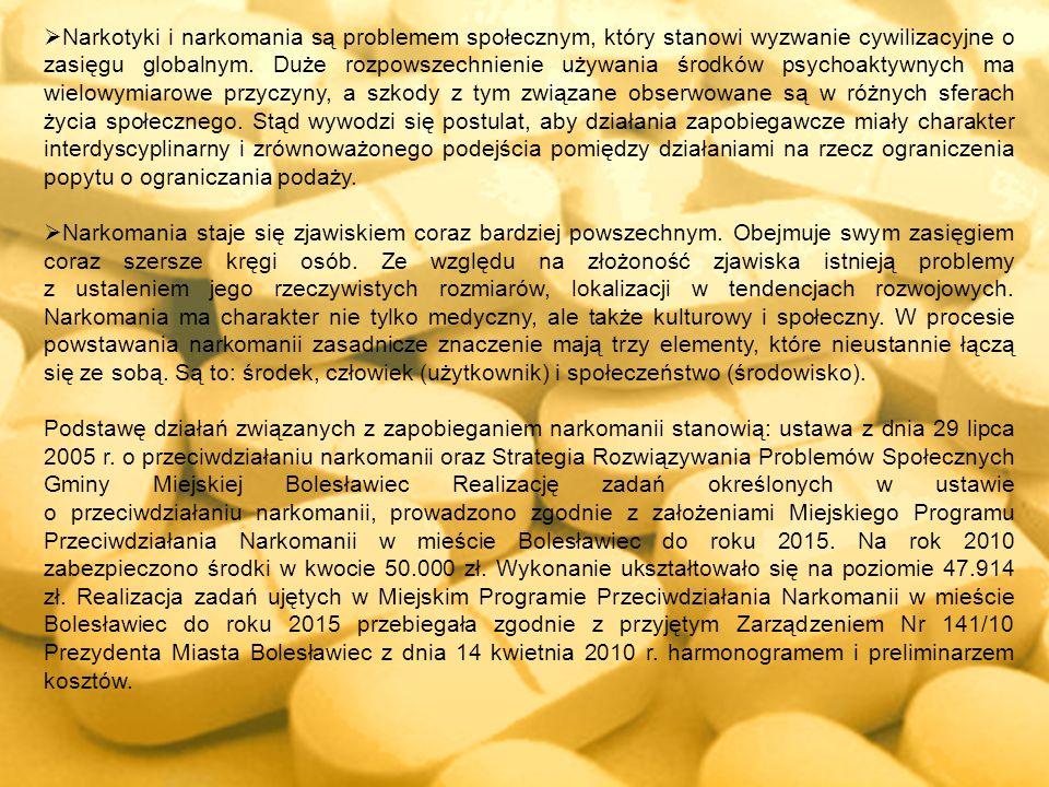 Narkotyki i narkomania są problemem społecznym, który stanowi wyzwanie cywilizacyjne o zasięgu globalnym. Duże rozpowszechnienie używania środków psychoaktywnych ma wielowymiarowe przyczyny, a szkody z tym związane obserwowane są w różnych sferach życia społecznego. Stąd wywodzi się postulat, aby działania zapobiegawcze miały charakter interdyscyplinarny i zrównoważonego podejścia pomiędzy działaniami na rzecz ograniczenia popytu o ograniczania podaży.
