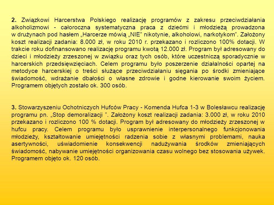 """2. Związkowi Harcerstwa Polskiego realizację programów z zakresu przeciwdziałania alkoholizmowi - całoroczna systematyczna praca z dziećmi i młodzieżą prowadzona w drużynach pod hasłem """"Harcerze mówią """"NIE nikotynie, alkoholowi, narkotykom . Założony koszt realizacji zadania: 8.000 zł, w roku 2010 r. przekazano i rozliczono 100% dotacji. W trakcie roku dofinansowano realizację programu kwotą 12.000 zł. Program był adresowany do dzieci i młodzieży zrzeszonej w związku oraz tych osób, które uczestniczą sporadycznie w harcerskich przedsięwzięciach. Celem programu było poszerzenie działalności opartej na metodyce harcerskiej o treści służące przeciwdziałaniu sięgania po środki zmieniające świadomość, wdrażanie dbałości o własne zdrowie i godne kierowanie swoim życiem. Programem objętych zostało ok. 300 osób."""
