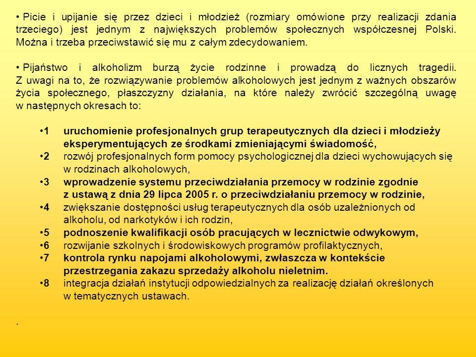 Picie i upijanie się przez dzieci i młodzież (rozmiary omówione przy realizacji zdania trzeciego) jest jednym z największych problemów społecznych współczesnej Polski. Można i trzeba przeciwstawić się mu z całym zdecydowaniem.