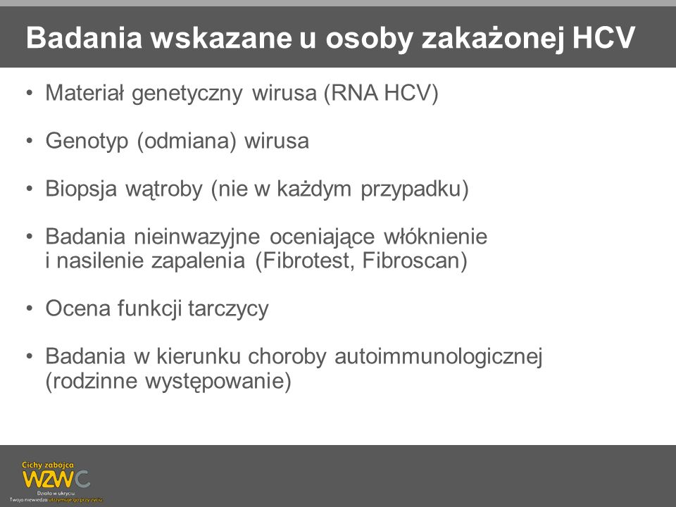 Badania wskazane u osoby zakażonej HCV