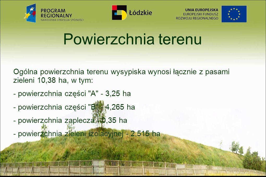 Powierzchnia terenu Ogólna powierzchnia terenu wysypiska wynosi łącznie z pasami zieleni 10,38 ha, w tym: