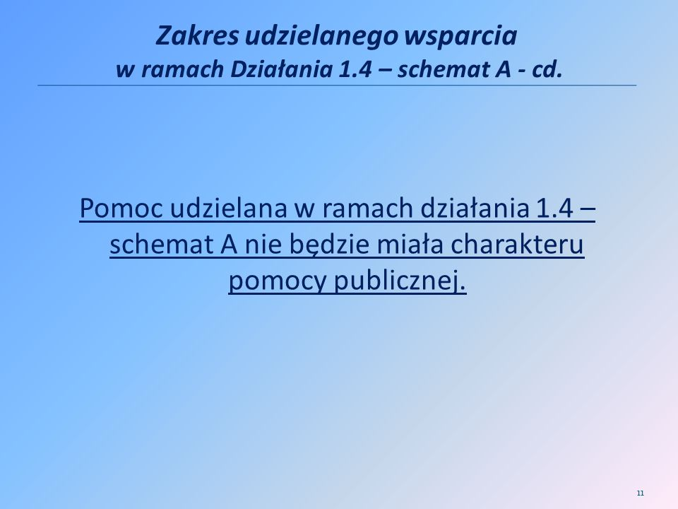 Zakres udzielanego wsparcia w ramach Działania 1.4 – schemat A - cd.