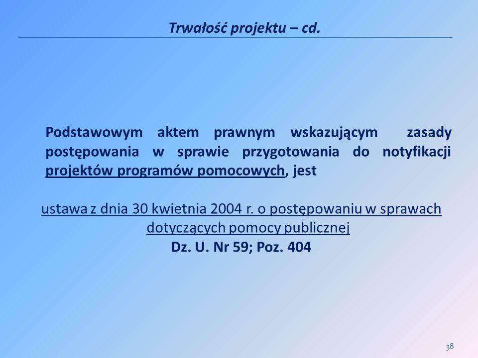 Trwałość projektu – cd.
