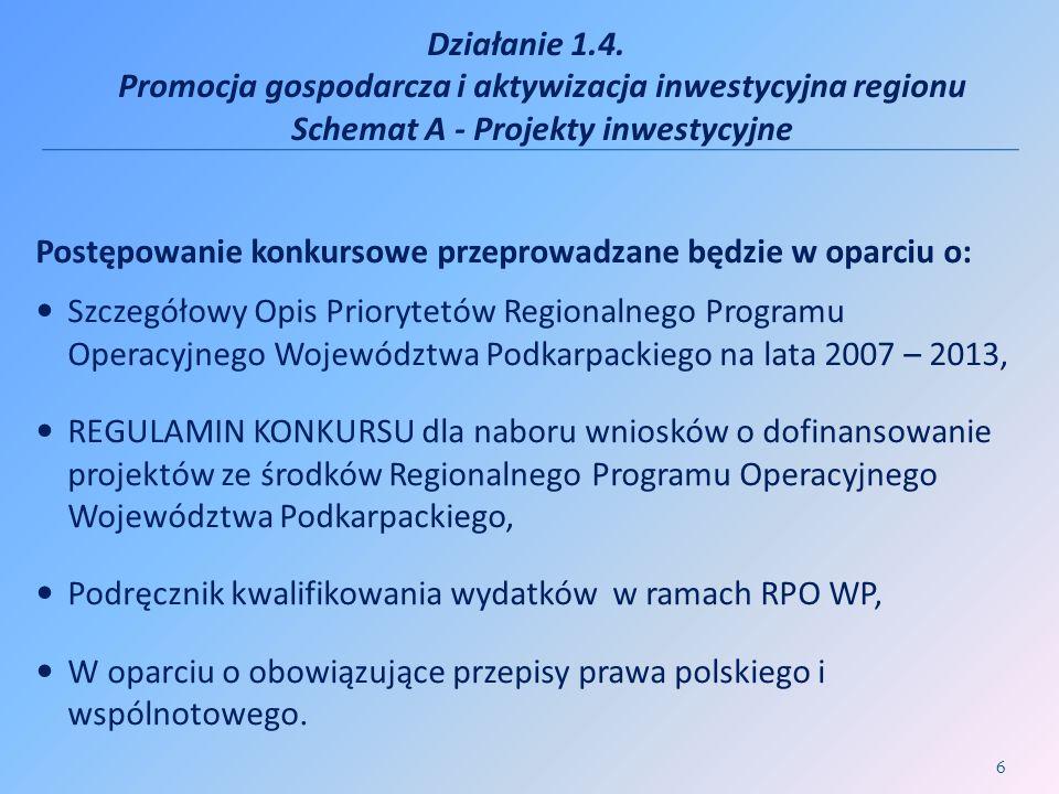Działanie 1.4. Promocja gospodarcza i aktywizacja inwestycyjna regionu Schemat A - Projekty inwestycyjne