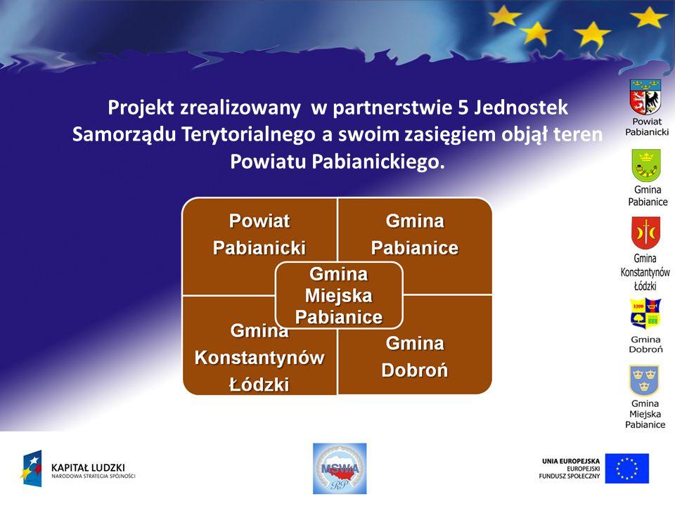 Projekt zrealizowany w partnerstwie 5 Jednostek Samorządu Terytorialnego a swoim zasięgiem objął teren Powiatu Pabianickiego.