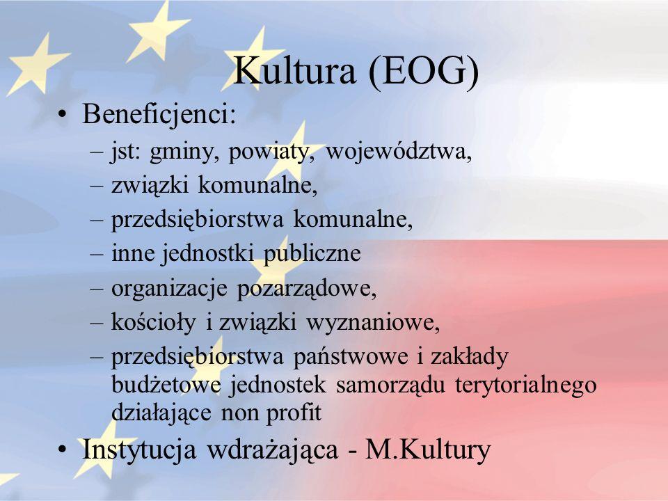 Kultura (EOG) Beneficjenci: Instytucja wdrażająca - M.Kultury
