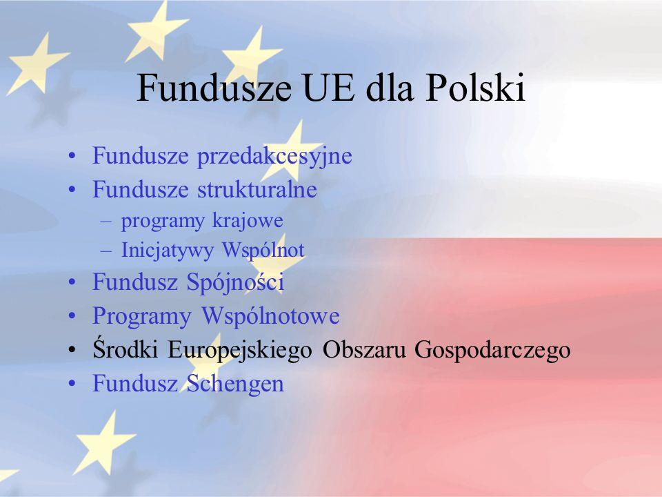 Fundusze UE dla Polski Fundusze przedakcesyjne Fundusze strukturalne