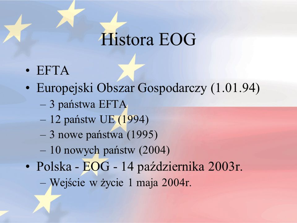 Histora EOG EFTA Europejski Obszar Gospodarczy (1.01.94)
