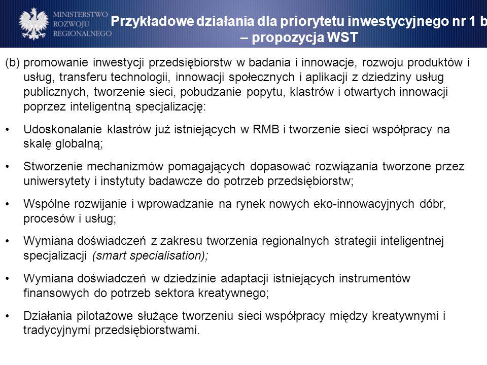 Przykładowe działania dla priorytetu inwestycyjnego nr 1 b