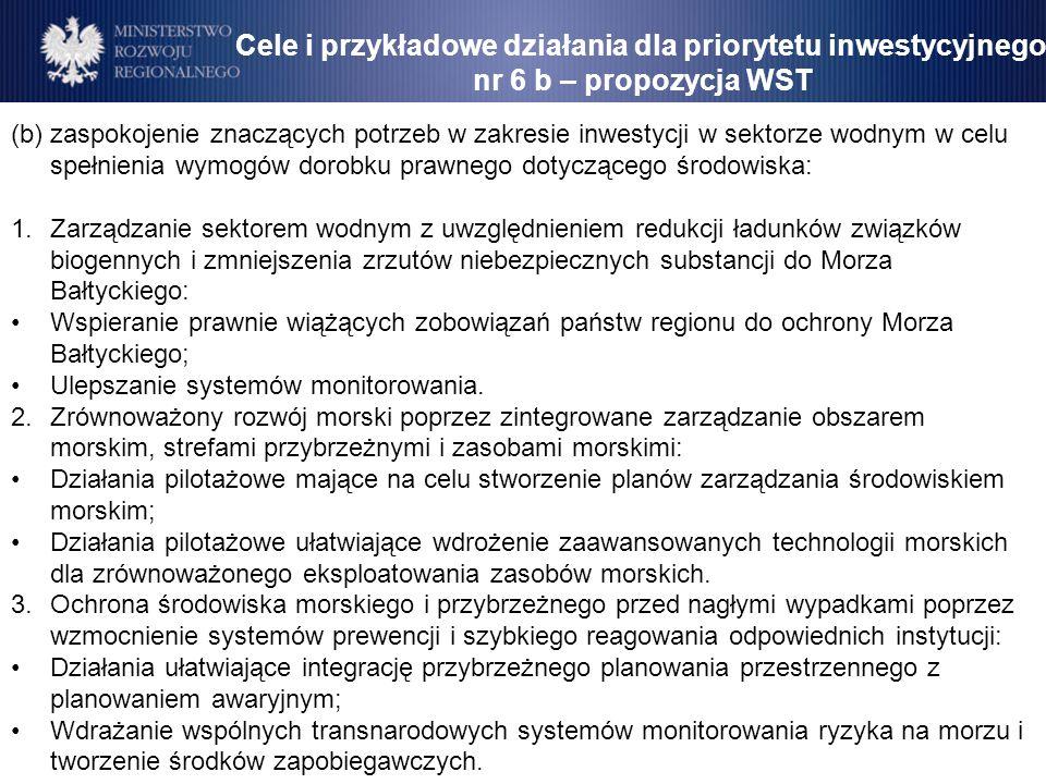 Cele i przykładowe działania dla priorytetu inwestycyjnego