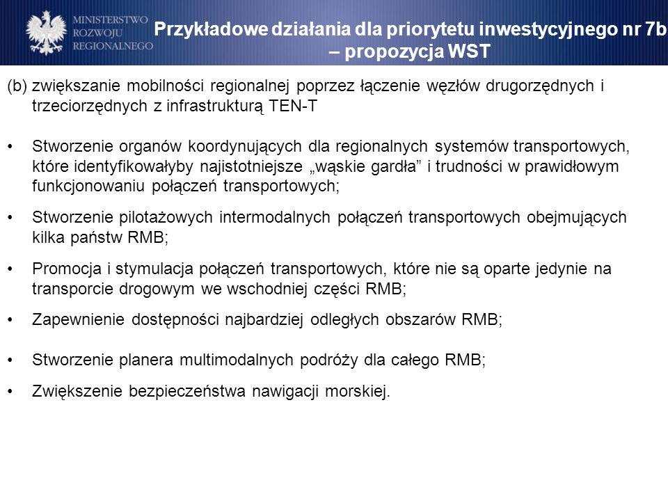 Przykładowe działania dla priorytetu inwestycyjnego nr 7b