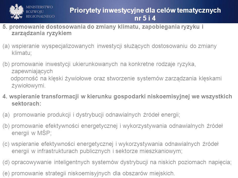 Priorytety inwestycyjne dla celów tematycznych