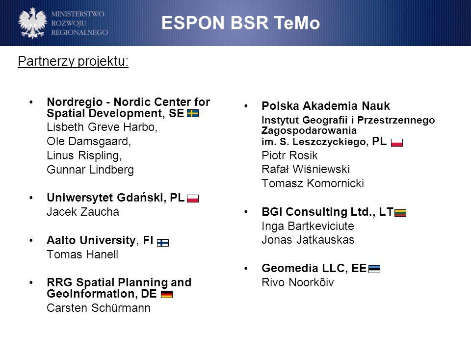 ESPON BSR TeMo Partnerzy projektu: