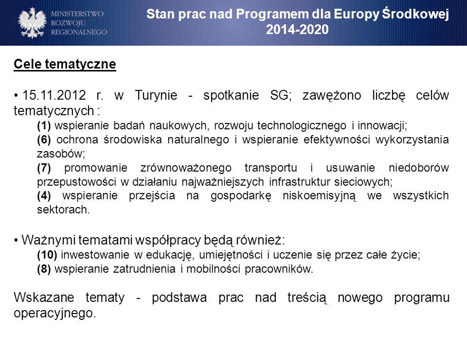 Stan prac nad Programem dla Europy Środkowej 2014-2020