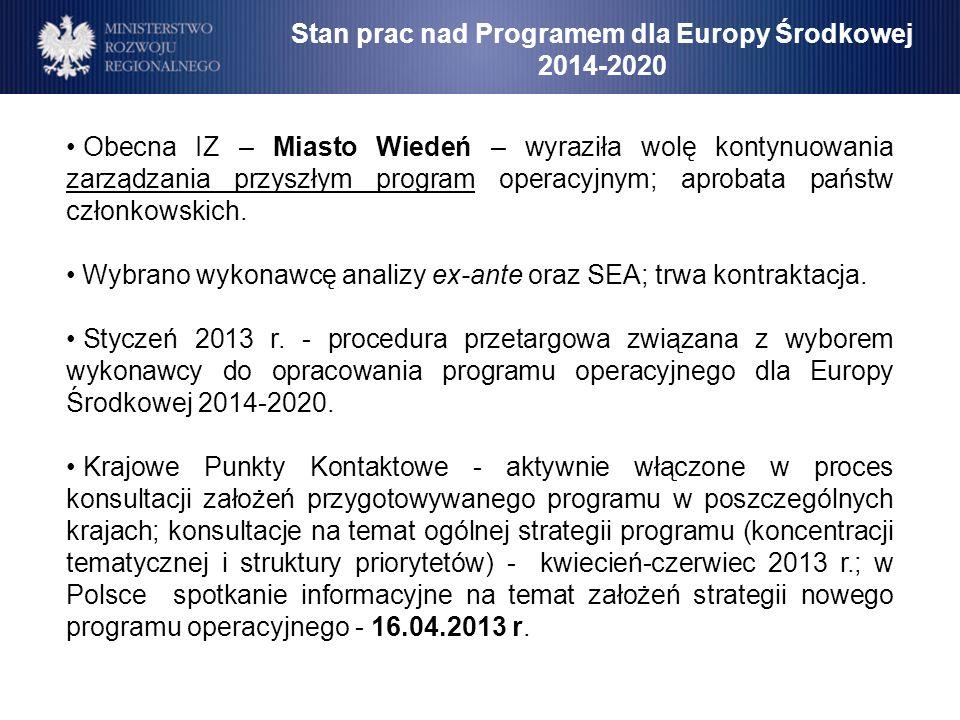 Stan prac nad Programem dla Europy Środkowej