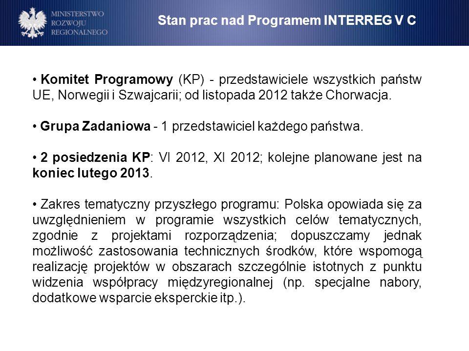 Stan prac nad Programem INTERREG V C