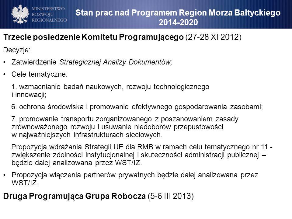 Stan prac nad Programem Region Morza Bałtyckiego