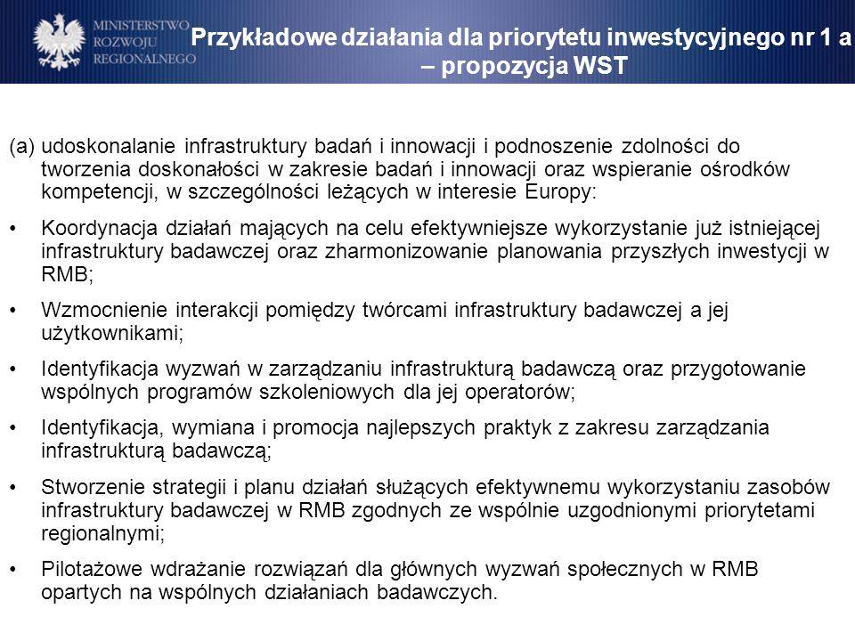 Przykładowe działania dla priorytetu inwestycyjnego nr 1 a