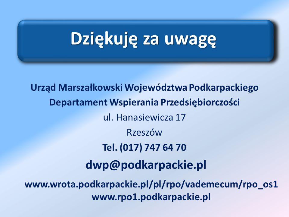 Dziękuję za uwagę dwp@podkarpackie.pl