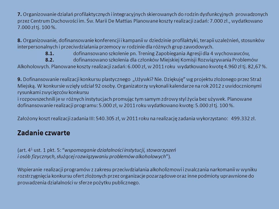 7. Organizowanie działań profilaktycznych i integracyjnych skierowanych do rodzin dysfunkcyjnych prowadzonych przez Centrum Duchowości im. Św. Marii De Mattias Planowane koszty realizacji zadań: 7.000 zł., wydatkowano 7.000 zł tj. 100 %.