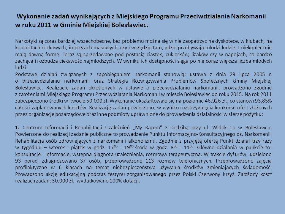 Wykonanie zadań wynikających z Miejskiego Programu Przeciwdziałania Narkomanii w roku 2011 w Gminie Miejskiej Bolesławiec.