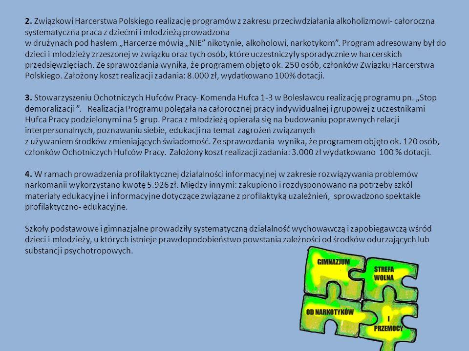 """2. Związkowi Harcerstwa Polskiego realizację programów z zakresu przeciwdziałania alkoholizmowi- całoroczna systematyczna praca z dziećmi i młodzieżą prowadzona w drużynach pod hasłem """"Harcerze mówią """"NIE nikotynie, alkoholowi, narkotykom . Program adresowany był do dzieci i młodzieży zrzeszonej w związku oraz tych osób, które uczestniczyły sporadycznie w harcerskich przedsięwzięciach. Ze sprawozdania wynika, że programem objęto ok. 250 osób, członków Związku Harcerstwa Polskiego. Założony koszt realizacji zadania: 8.000 zł, wydatkowano 100% dotacji."""