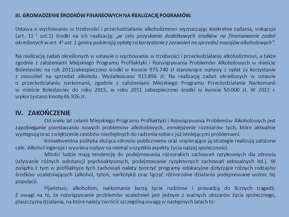 III. GROMADZENIE ŚRODKÓW FINANSOWYCH NA REALIZACJĘ POGRAMÓW.