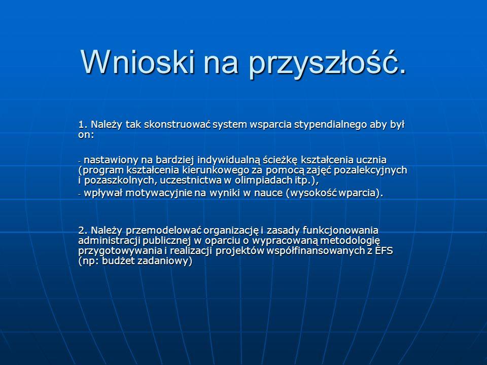 Wnioski na przyszłość. 1. Należy tak skonstruować system wsparcia stypendialnego aby był on: