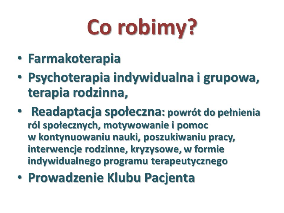 Co robimy Farmakoterapia