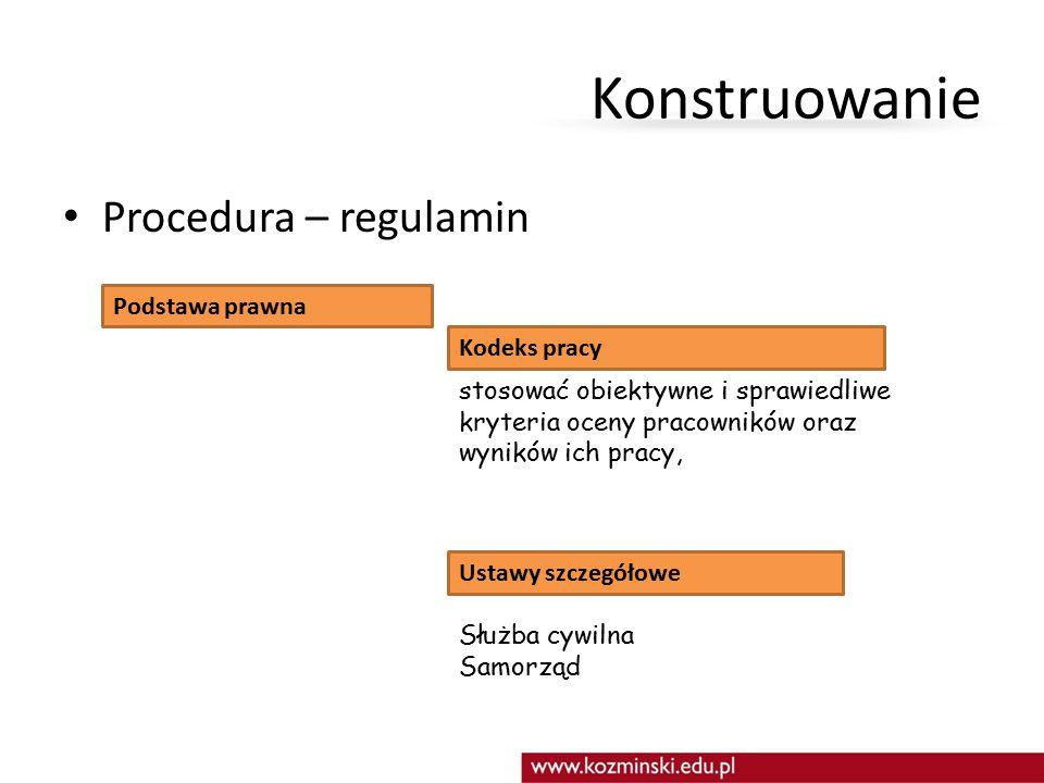 Konstruowanie Procedura – regulamin Podstawa prawna Kodeks pracy