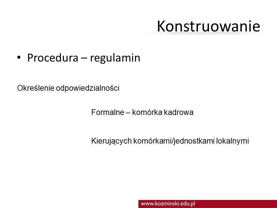 Konstruowanie Procedura – regulamin Określenie odpowiedzialności