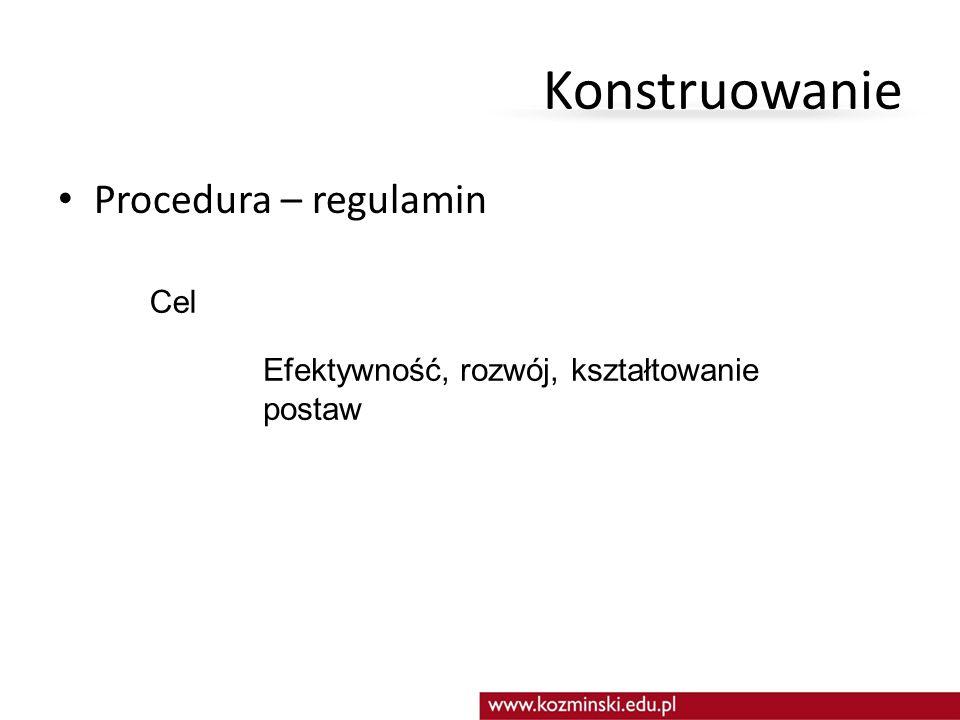 Konstruowanie Procedura – regulamin Cel