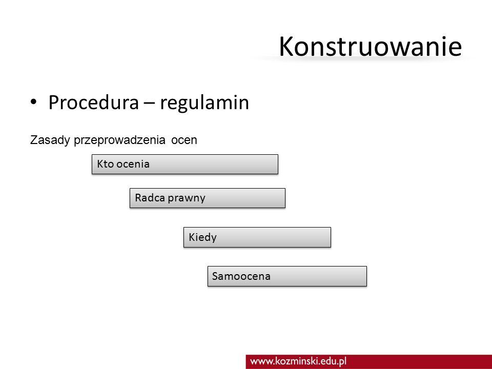 Konstruowanie Procedura – regulamin Zasady przeprowadzenia ocen