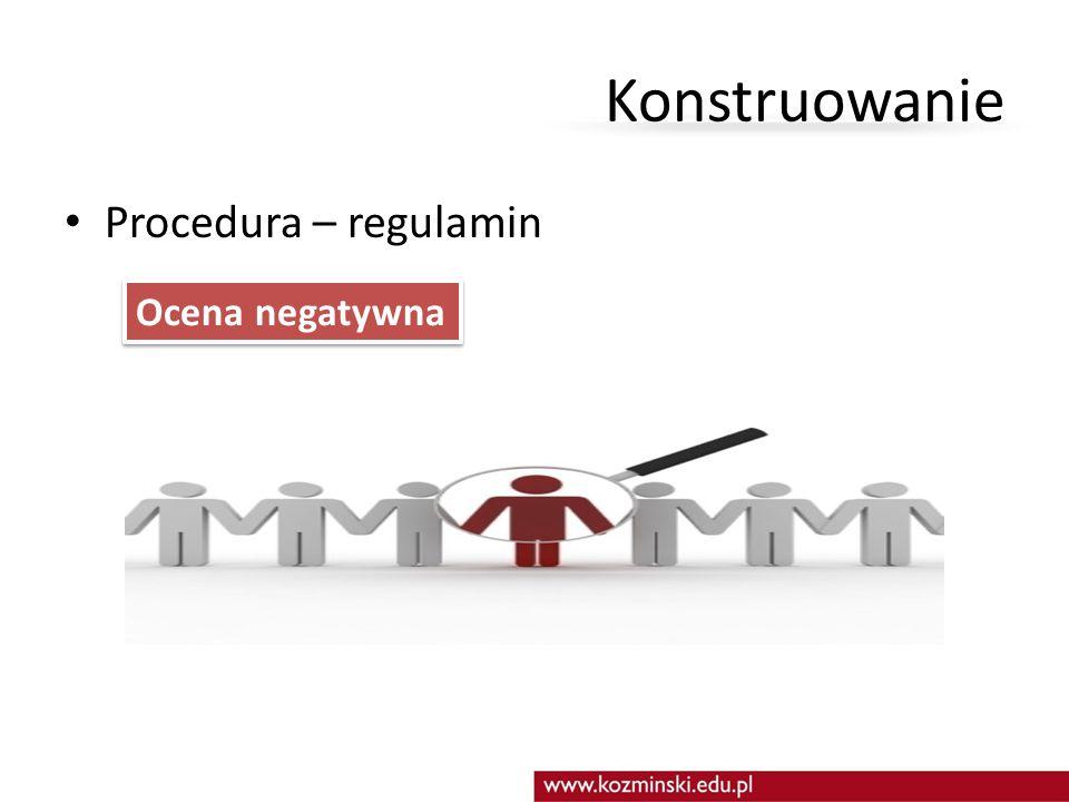 Konstruowanie Procedura – regulamin Ocena negatywna