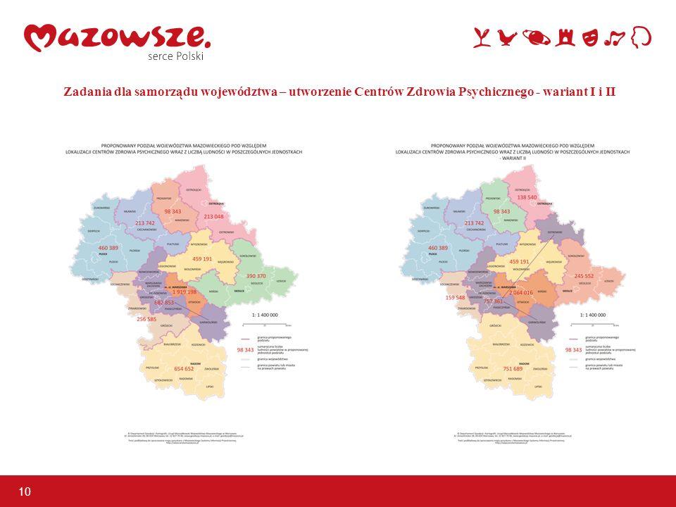 Zadania dla samorządu województwa – utworzenie Centrów Zdrowia Psychicznego - wariant I i II