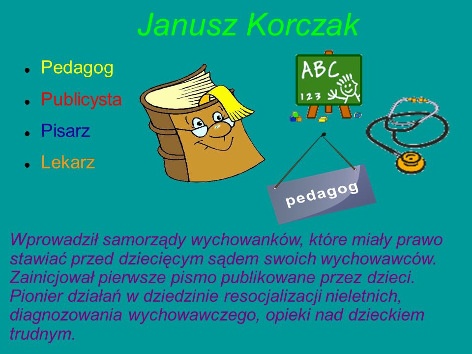 Janusz Korczak Pedagog Publicysta Pisarz Lekarz