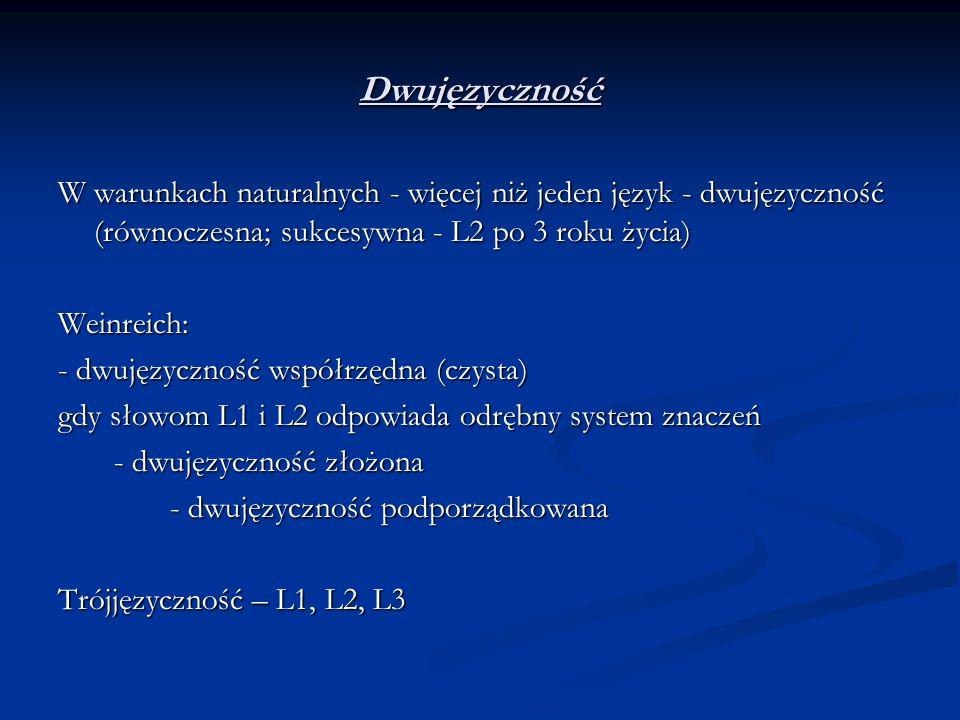 Dwujęzyczność W warunkach naturalnych - więcej niż jeden język - dwujęzyczność (równoczesna; sukcesywna - L2 po 3 roku życia)