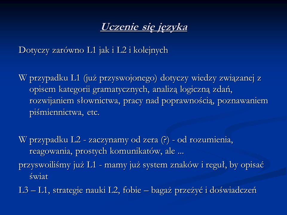 Uczenie się języka Dotyczy zarówno L1 jak i L2 i kolejnych