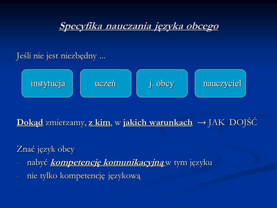 Specyfika nauczania języka obcego