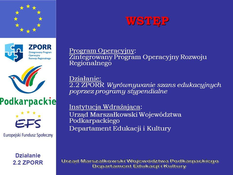 WSTĘP Program Operacyjny: Zintegrowany Program Operacyjny Rozwoju Regionalnego.