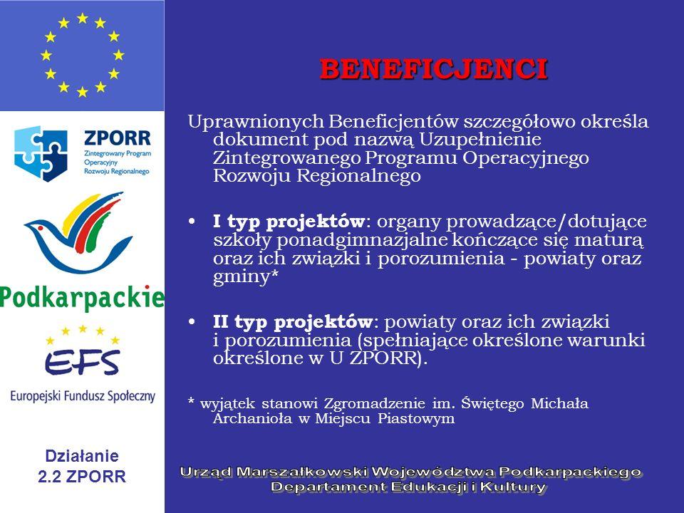 BENEFICJENCI Uprawnionych Beneficjentów szczegółowo określa dokument pod nazwą Uzupełnienie Zintegrowanego Programu Operacyjnego Rozwoju Regionalnego.