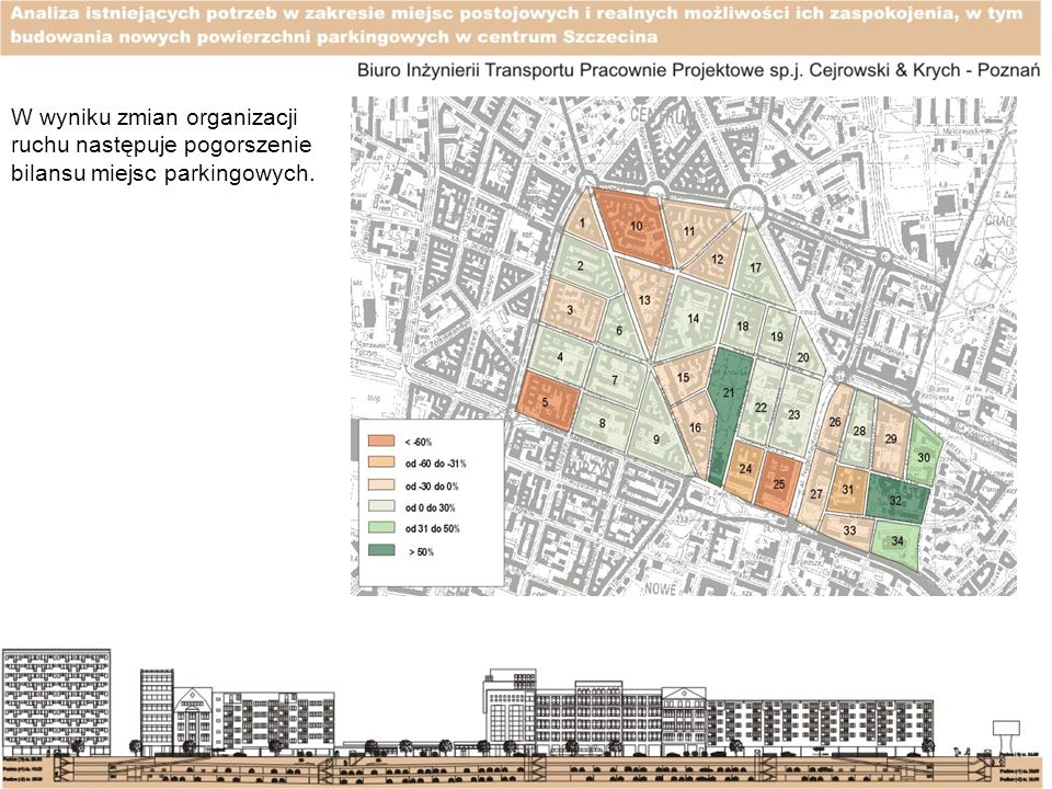 W wyniku zmian organizacji ruchu następuje pogorszenie bilansu miejsc parkingowych.
