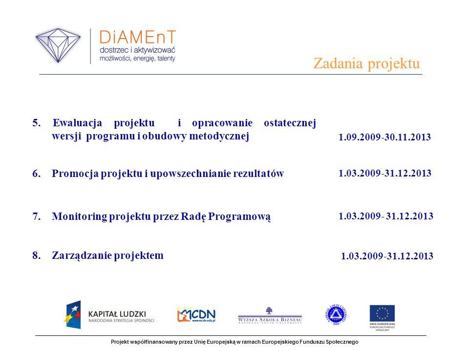 Zadania projektu 5. Ewaluacja projektu i opracowanie ostatecznej wersji programu i obudowy metodycznej.